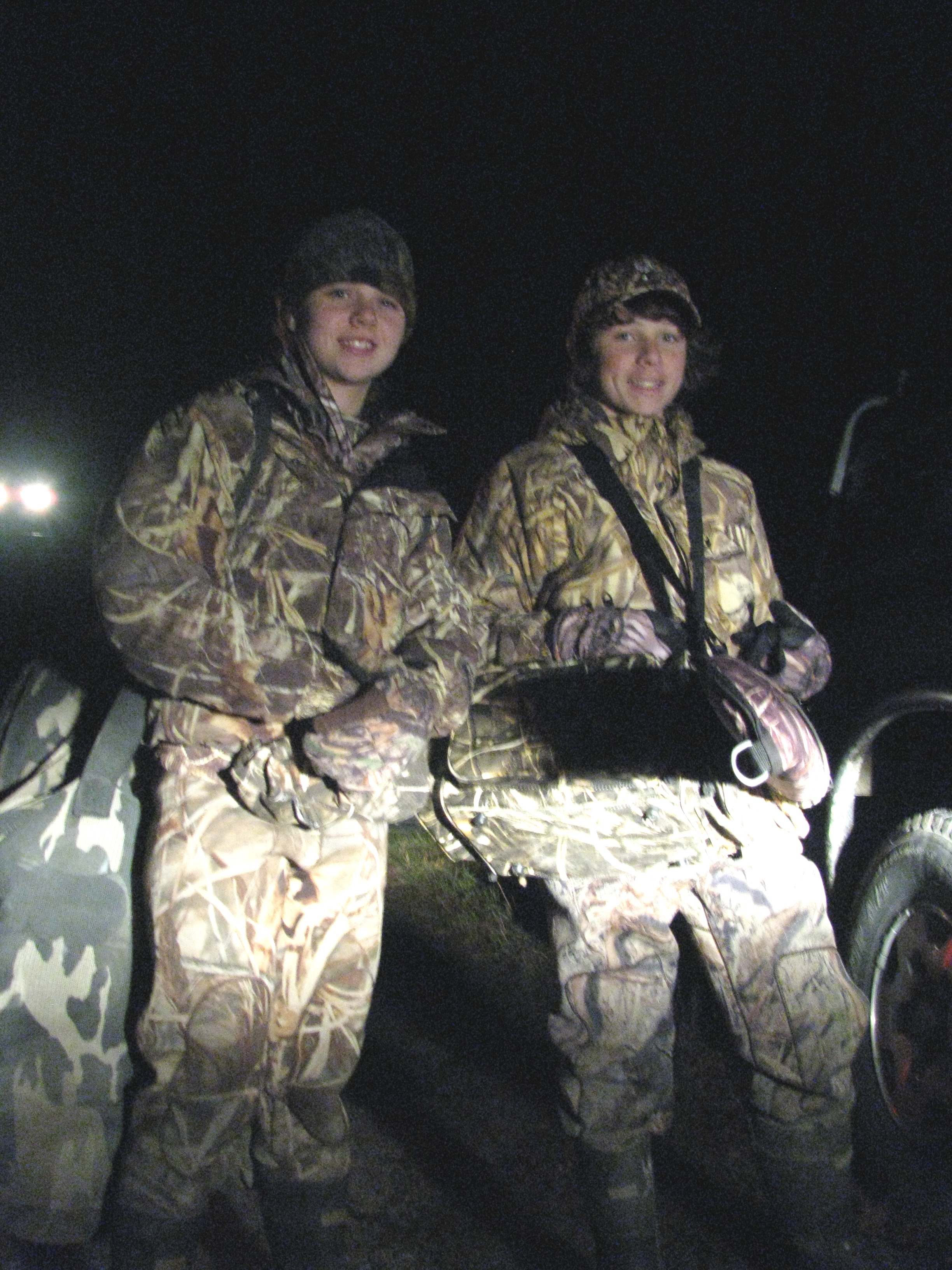 Ellie and Grier are all grins at 5:00am, ready to set up decoys in preparation for the hunt.