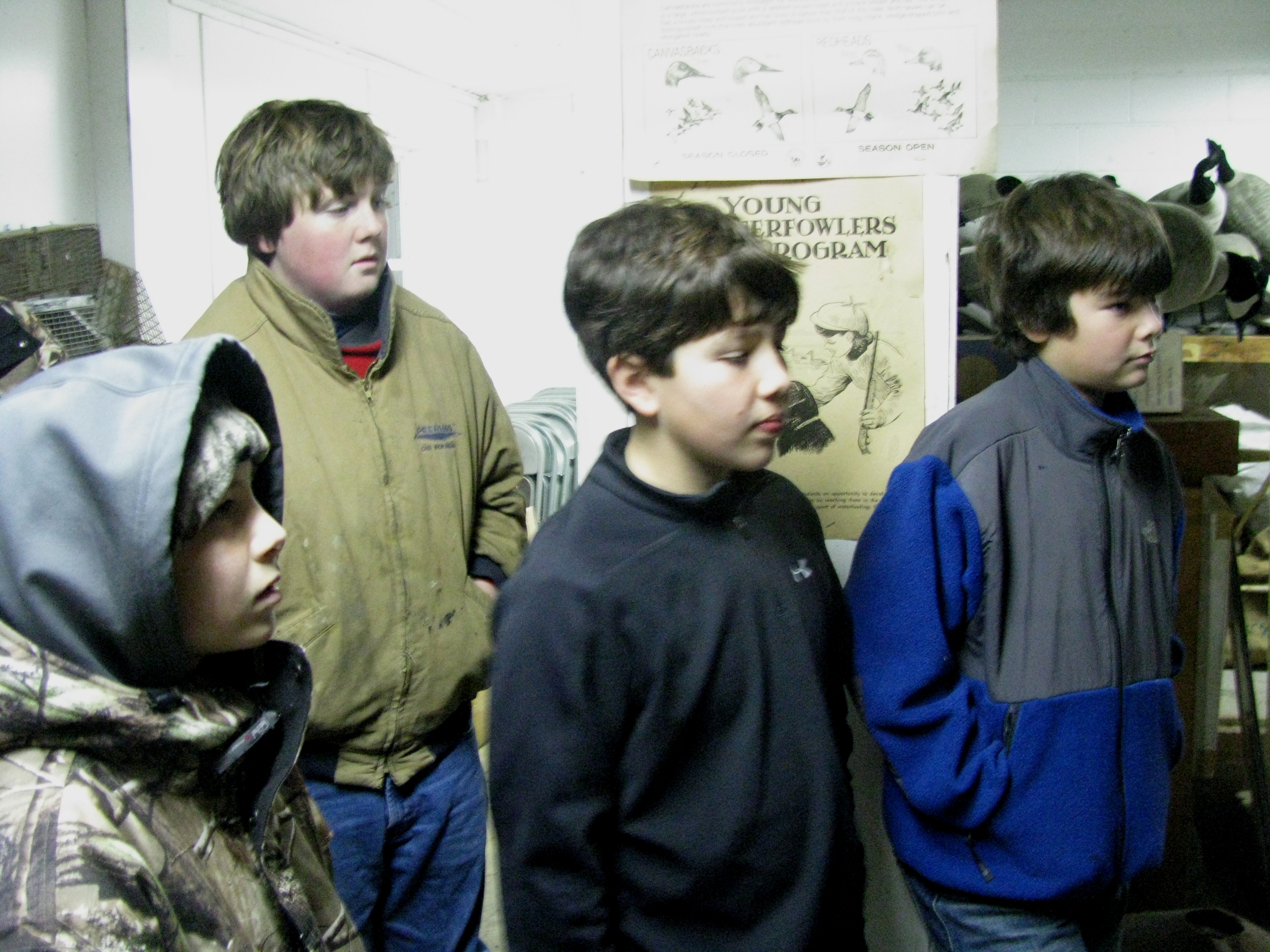 Young Waterfowlers students gather for instructions prior to heading afield.  The time: 4:30am!