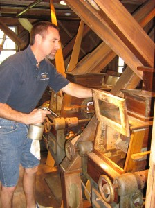 Rick Frunzi conducts yearly maintenance on the Mill's historic equipment