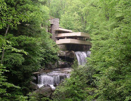 The classic view of Fallingwater.