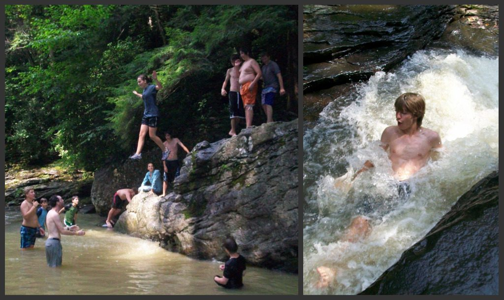 Campers got to slide down the natural waterslide and jump off rocks into pools.