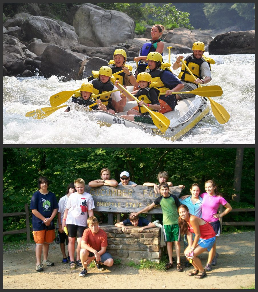White-water rafting and swimming at Cucumber Falls.