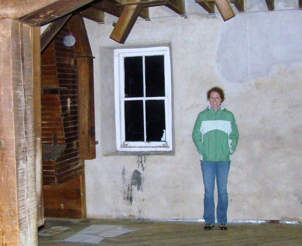 I was caught on camera again.  I like this corner of the Mill's first floor.  This is where I travel in my orb state.