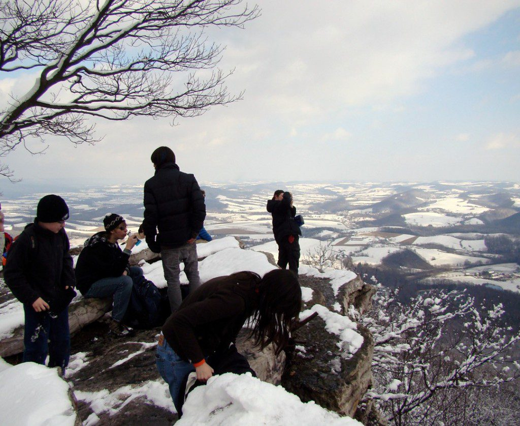 The Teen Naturalists enjoy lunch at The Pinnacle, one of the best viewpoints along Pennsylvania's section of the Appalachian Trail.