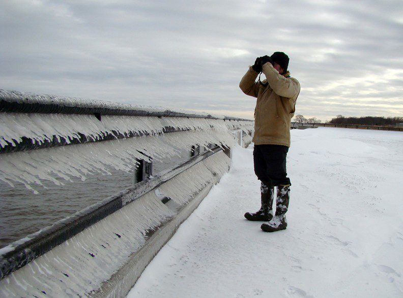 Sideways icicles line the railing at the waterfont in Delaware City for the Middletown Christmas Bird Count.
