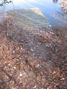 Scent mounds are usually placed at or near prominent landmarks, natural or otherwise.  This dock along Abbott's Pond is a reliable spot to look for River Otter and American Beaver sign throughout the year