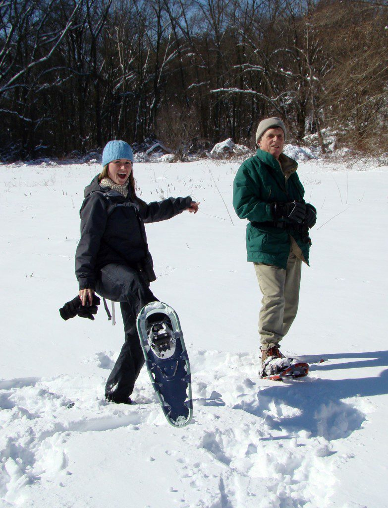 Birding via snowshoe at Ashland Nature Center.  Photo by Joe Sebastiani.