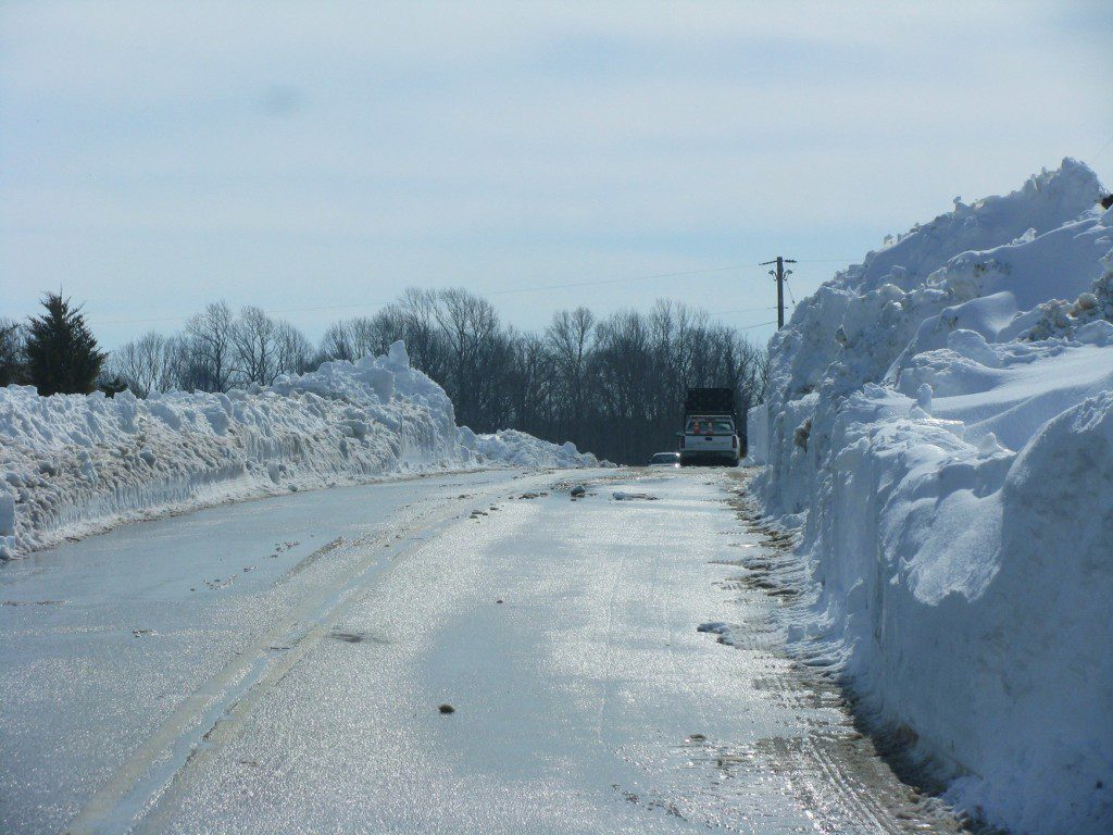 A 15-foot wall of snow along Route 9, the result of high winds and drifting.
