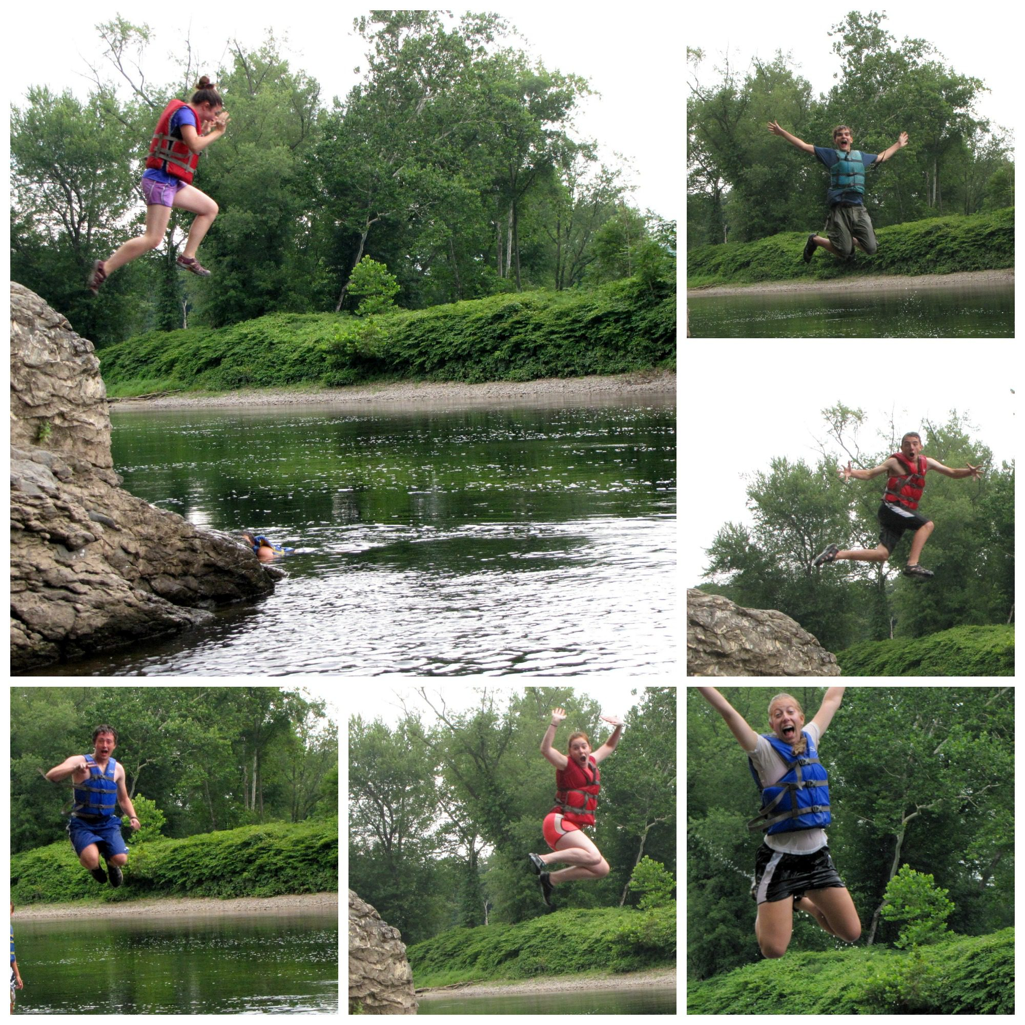 We found a deep swimming hole and a high rock to leap into it.  Photos by Dan Kenney.
