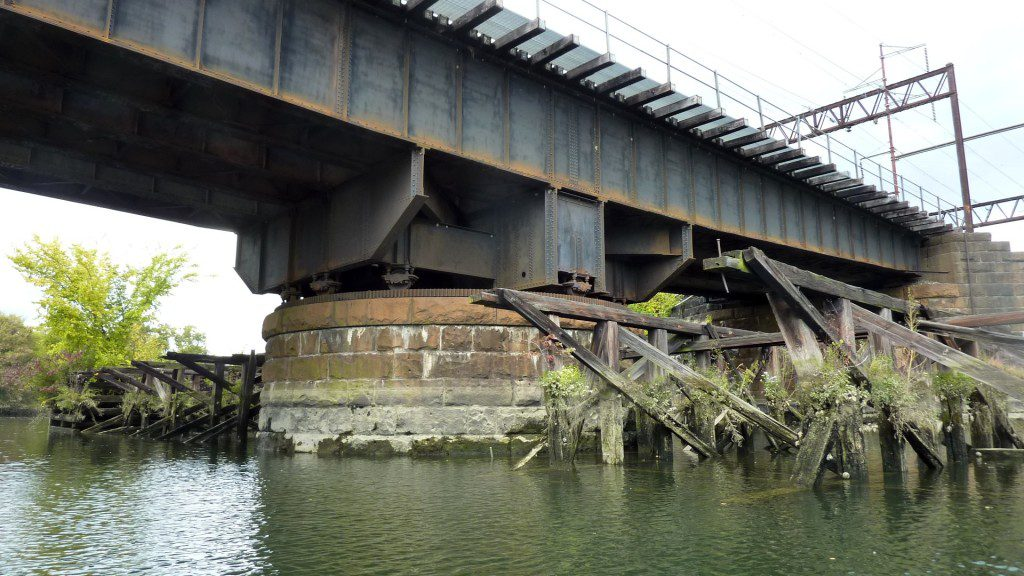 This bridge once rotated to let tall ships sail up the Brandywine River.  Can you see the large gear?